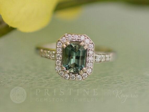 Blue Green Sapphire Engagement Ring Radiant Cut Diamond Halo Gemstone Engagement Ring Wedding Anniversary Ring