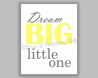 Dream Big Little One yellow gray gender neutral canvas print wall art