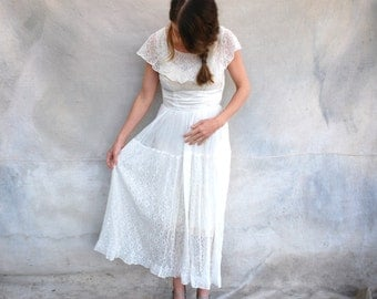 1920s ivory romantic wedding dress - 20s feminine sheer lace tea length bridal dress- small / medium