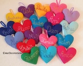 Heart Custom Name Ornament,  Monogram Ornament, Felt Heart, Handwriting Name Personalized Family