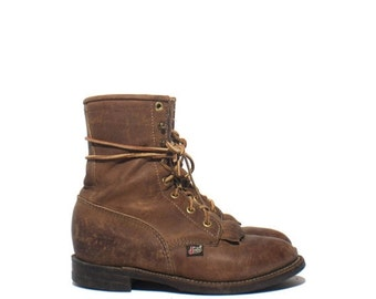 40% Off Sale 6 B | Women's Justin Ropers Nubuck Brown Lace Up Western Ankle Boot