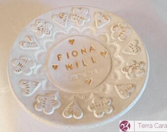 Personalized Ceramic Ring Dish - Wedding Ring Dish