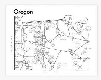 "Oregon letterpress map 8.5""x11"""