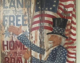Uncle Sam patriotic wooden print
