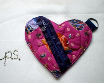 Dark Bright Pink Quilted Heart Pouch with Cats