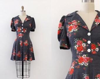 vintage 1970s dress // 70s floral mini dress