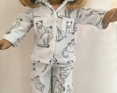 """American Girl Pajamas, 18"""" doll pj's, doll clothes, flannel, cats, handmade"""