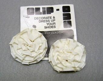 Light Ivory Grosgrain Rosette Shoe Clips, Vintage, Never Used
