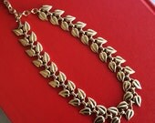 Double Gold Leaf Shiny Gold Vintage Choker Collar Necklace