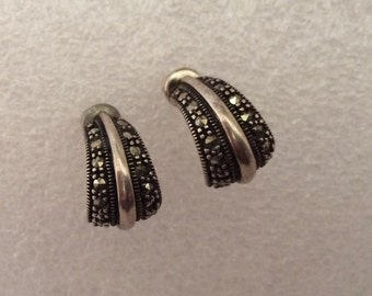 Elegant Sterling Silver and Marcasite Pierced Post Half Hoop Earrings