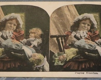 Playing Grandma Stereograph Card Stereoscope Scene Colored Child Doll Dog