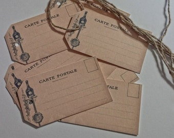Vintage Style Hang Tags With Strings French Post Cards