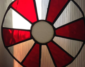 Stained Leaded Glass Window Hanging.  For Window or wall.  Vintage 1970.  Sun Catcher.