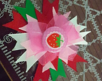 "4"" Strawberry Stacked Pinwheel Boutique Bow"
