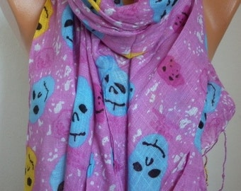 Pink Colorfull Skull Print Cotton Scarf,Shawl,Day of the dead, death's head, Gift Ideas For,Women Scarves