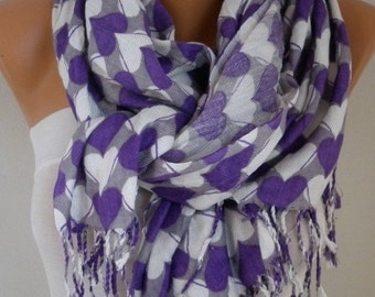 Valentine's Day Gift Heart Print Cotton Scarf Shawl Oversized Pashmina Cowl Scarf Gray - White - Purple Gift Ideas For Her best selling