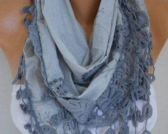 Gray Cotton Embroidery Floral Scarf Fall Scarf, Cowl Bridesmaid Gift Gift Ideas For Her Women Fashion Accessories best selling item