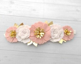 Wool Felt Flower Crown in Off White, Vintage Pink and Gold - Flower Headband - Baby Headband -Hair accessories- 8 inch flower crown