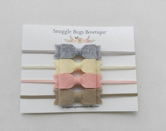Set of 4 Mini Wool Felt Bow Headbands- Taupe, Vintage Pink, Cream and Smoke  - Newborn Baby to Adult - Hair Bows