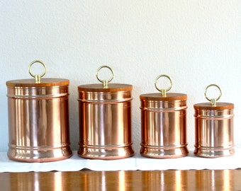 Set of 4 Copper Kitchen Canisters with Wood Lids - Rose Gold Canisters with Circular Brass Knobs - Flour Sugar Coffee and Tea Canisters