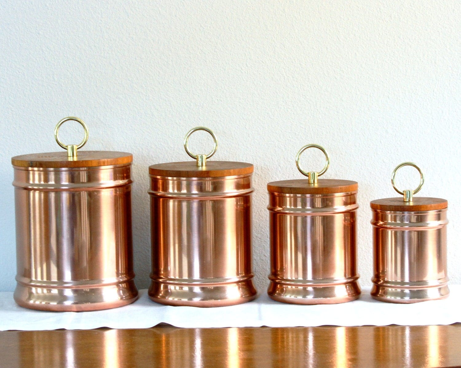 Set Of 4 Copper Kitchen Canisters With Wood Lids Rose Gold