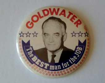 Campaign Button, 1964 Barry Goldwater, Round Election Button, Politician pin, Historical pin, Political Collectible