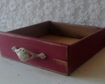 Wood drawer, Small Vintage drawer, Painted Red box, Autumn, Cottage chic, Farmhouse decor, Rustic Home decor