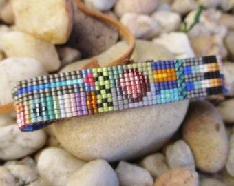 Multi color abstract beaded leather bracelet - Eclipse - colorful fringe tassel friendship bracelet fall boho by slashKnots