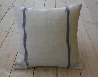 French Grain Sack  Pillow, Tan black stripes, Farmhouse Pillows,  Shabby Chic, INSERT INCLUDED