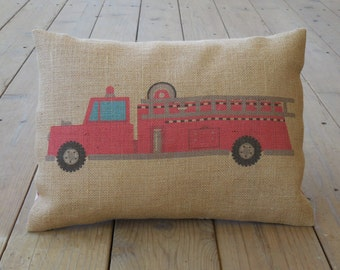 Fire engine Burlap Pillow - Kids, country, mighty machine, fire ladder truck, INSERT INCLUDED