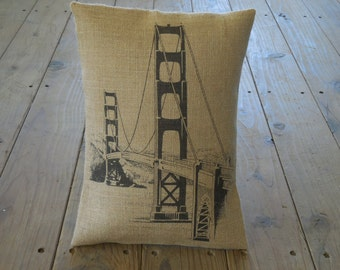 Golden Gate Burlap Pillow, Vintage San Francisco, Golden Gate Bridge, Travel, Retirement, INSERT INCLUDED