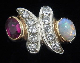Retro Diamonds Opal Synth Rubies 14k Yellow Gold Ring Estate Vintage c1940s