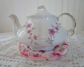 Dainty Vintage Ellgreave Teapot // England // 2 Cup Size // Pink Flowers // Ironstone