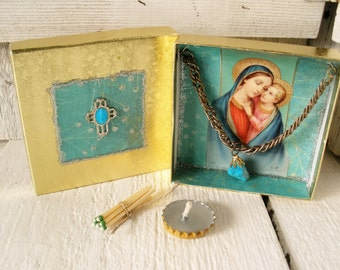 Little prayer box Christian shrine Madonna Child meditation upcycled embellished pocket size- free shipping US