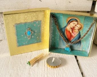 Little prayer box Christian shrine Madonna Child meditation upcycled embellished pocket size