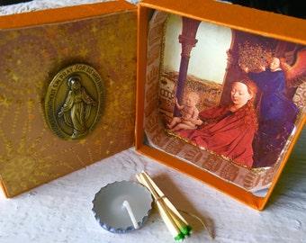 Mini prayer box Christian shrine Mary Christ Child meditation upcycled embellished pocket size