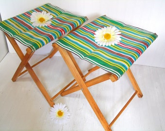 Vintage Colorful Nylon and Plastic Fabric & Wood Camp Chairs Set of 2 - Shabby BoHo Chic Out/InDoor Folding Stools Matching Multicolors Pair