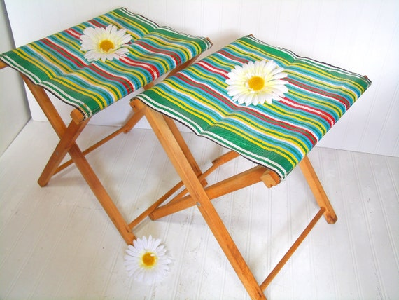 Vintage Colorful Nylon and Plastic Fabric & Wood Camp Chairs