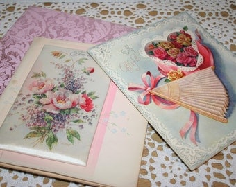 Vintage pillow 1940' s greeting cards - Anniversary - Valentine