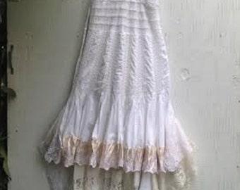 CUSTOM example fairy festival white blush high low boho gypsy lace tan shabby prairie rustic barn wedding bridesmaid dress