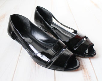 SIZE 8 M Vintage Black Genuine Patent Leather Cut Out Peep Toe Low Heels Wedge Shoes