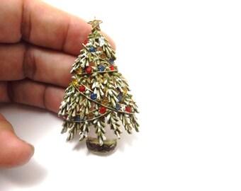 Christmas tree brooch pin, rhinestones, multi colored  ART C