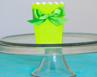 Tinkerbell Party Favor Boxes with Ribbon, Lime Green, Goody Boxes, Goodie Boxes, Choose Ribbon Color, Birthday Party Favors, Party, 12 CT