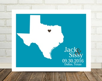 Wedding Gift Texas Map Texas Print Texas Poster Custom Wedding Gift Valentines Day Gift Holiday Gift for Him Map Art Texas Forever