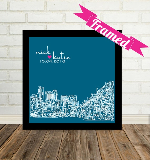 Wedding Skyline Personalized Gift FRAMED ART Wedding Cityscape Any City Available Worldwide Modern Wedding Gift Custom Valentines Day Gift