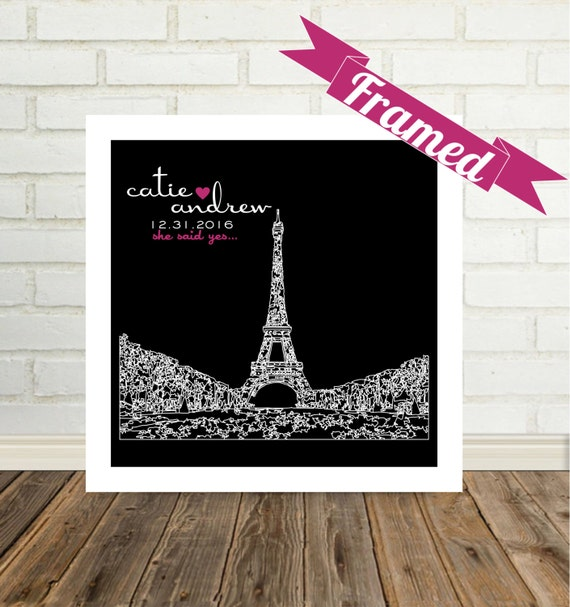 Engagement Gift Personalized Unique Engagement Gifts City Skyline FRAMED ART Paris France Paris Wedding Paris Engagement Any City Available