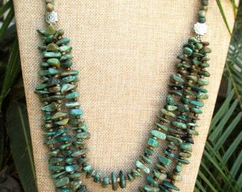 Triple Strand Arizona Turquoise Necklace
