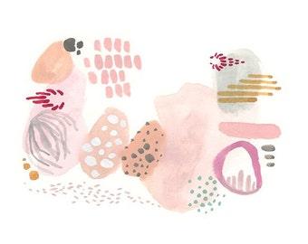 Abstract art, abstract print, pink abstract art, pink print