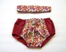 Autumn Burnt Orange and Scrolled Floral Bloomers  Diaper Cover