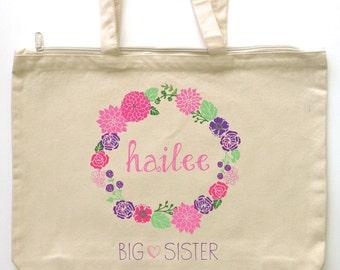 Big Sister Large Custom Printed Library Tote - Sweet Floral Wreath Sleepover Tote - Big Sis - Little Sis